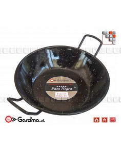 Poele Creuse Emaillee D32 PataNegra Garcima G05-87032 GARCIMA® LaIdeal Plat Paella Emaillé PataNegra
