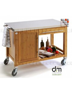 Trolley Plancha Bamboo DM Creation 301PX0067 dm CREATION® Wood & stainless steel Outdoor Trolley