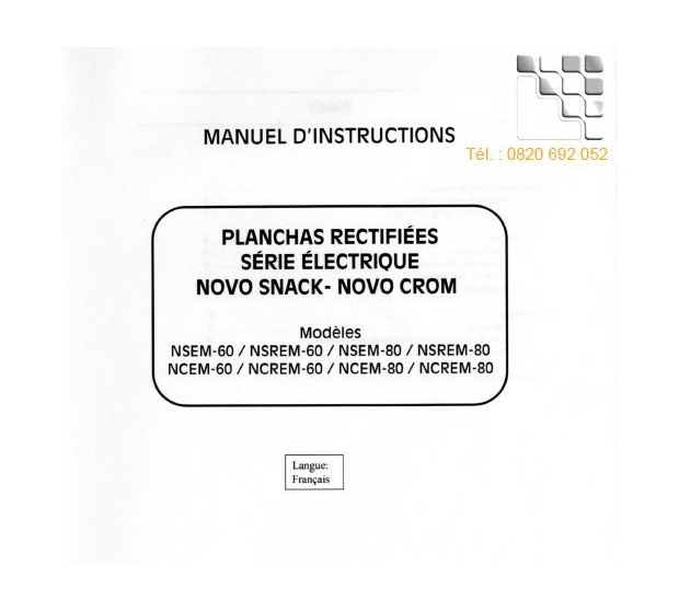 Manual Instructions NOVO-SNACK NOVO-CROM  M99-NNSEMNCEM MAINHO® Instruction Manual Guides