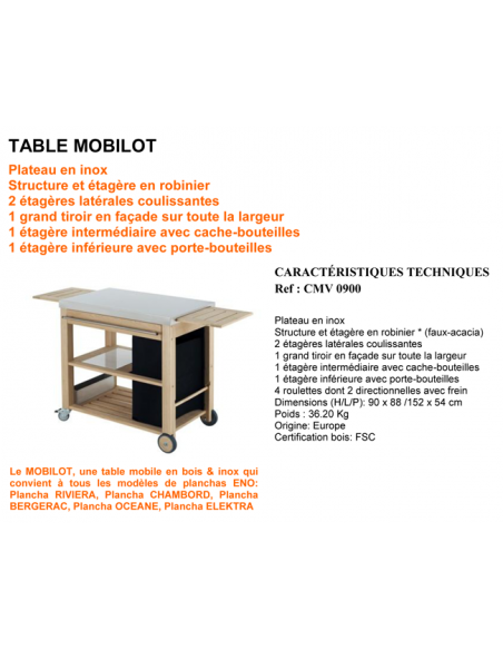 Trolley Plancha Mobilot Eno 301PXM09 ENO®  Wood & stainless steel Outdoor Trolley