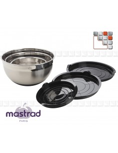 Lot of 3 salad bowls Stainless steel Anti-Slip MASTRAD M12-BAD4 Mastrad® Kitchen Utensils