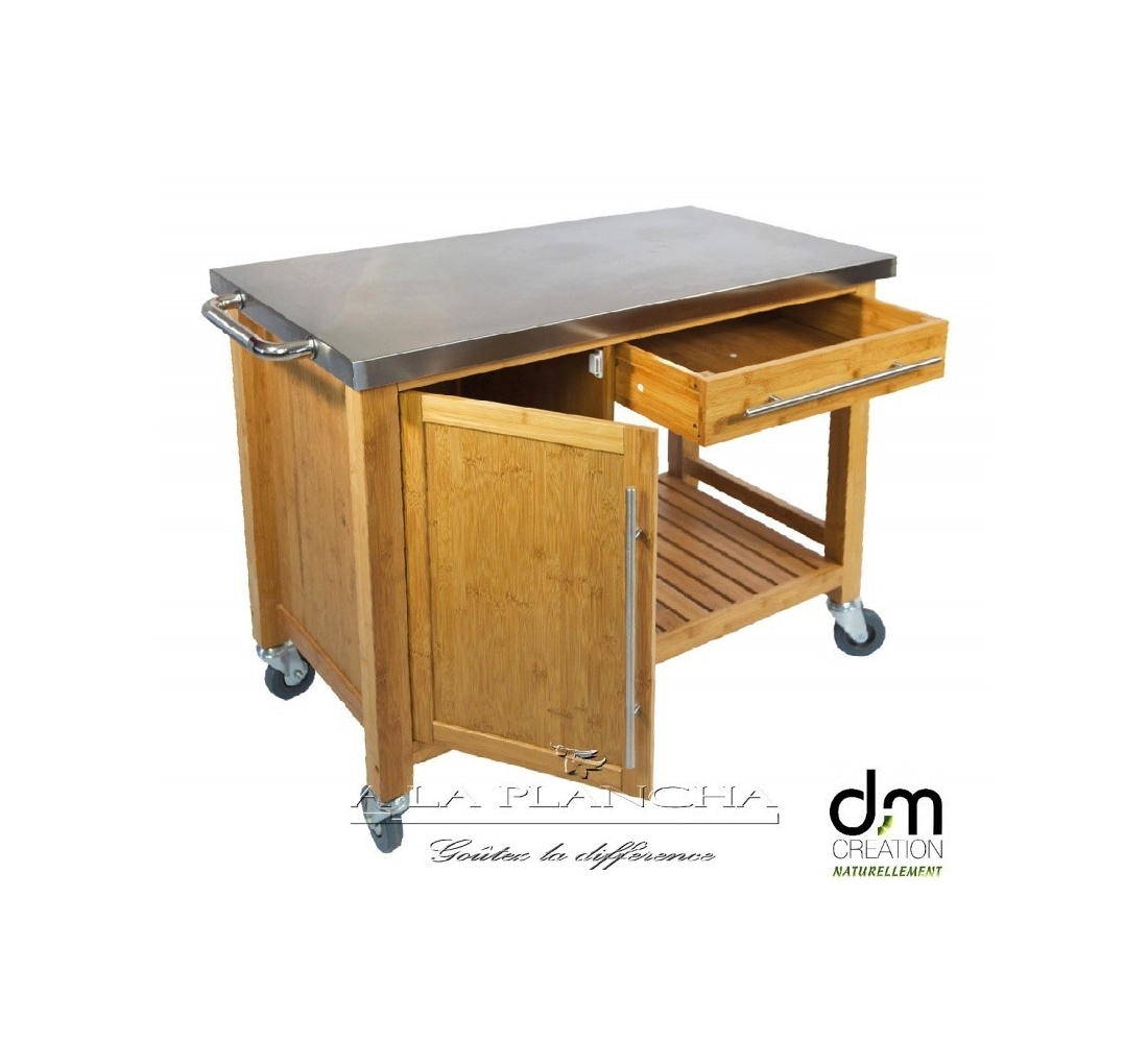 Chariot plancha bambou dm creation for Table pour plancha inox