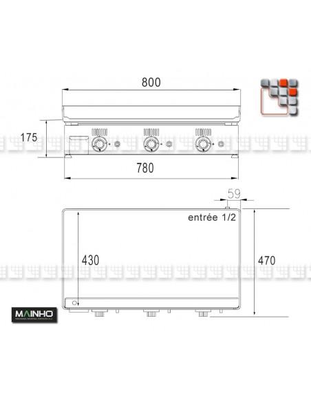 Plancha NC-80 Novo-Crom Gaz MAINHO M04-NC80 MAINHO® Planchas MAINHO NOVO CROM SNACK