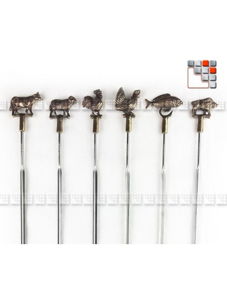 Set of 6 Hairpins Brass has Skewered The Authentic A17-PB002 A la Plancha® Table decoration