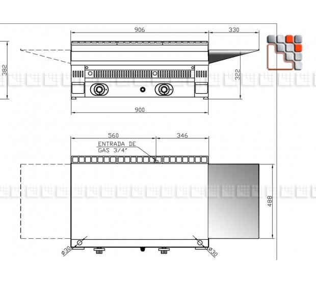 Tablette Inox Frytop Mainho M04-EST MAINHO SAV - Accessoires Pièces détachées Mainho