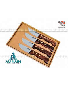 Box set 4 knives steak P'tit Boucher rosewood to THE DWARF A38-1351 AU NAIN® Coutellerie Table decoration