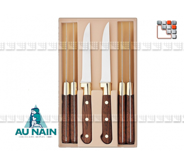 Boxed set 6 knives steak rosewood to THE DWARF A38-1804001 AU NAIN® Coutellerie Table decoration