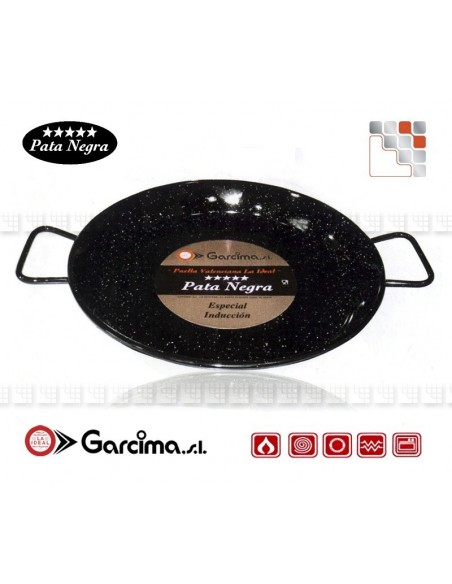 Plat Paella D34 PataNegra Email Induction Garcima G05-85234 GARCIMA® LaIdeal Plat Paella Emaillé PataNegra