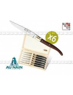 box of 6 table knives in wood amourette Laguiole