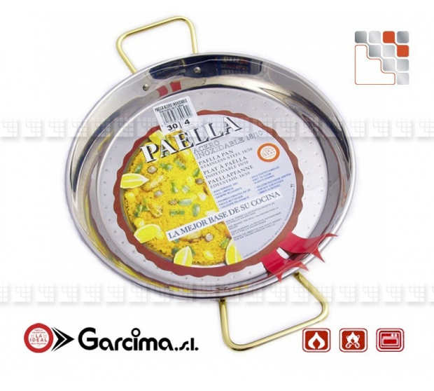 Paella dish stainless steel 18 8 D40 Garcima G05-70040 GARCIMA® LaIdeal Stainless steel Paella Pans Antiadhésive HQ Garcima