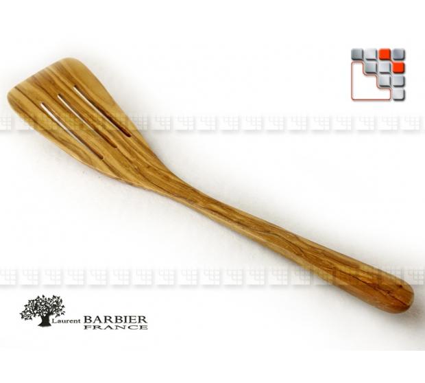 Spatula Galbee Striee Luberon in olive wood LB B18-303143 LaurentBarbier France Kitchen Utensils