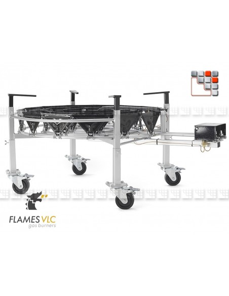Kit 4 Adjustable Feet Wheels Steerable VLC F08-BDKTRO900 FLAMES VLC® Burner Gas Flames VLC