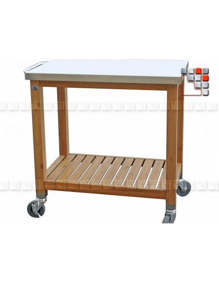 Service Plancha Bamboo PM L80 D19-231 dm CREATION® Wood & stainless steel Outdoor Trolley