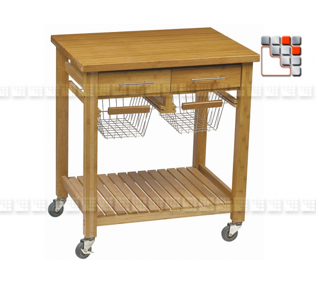 Service Bamboo GM Roma DM 301PX0045 dm CREATION® Wood & stainless steel Outdoor Trolley