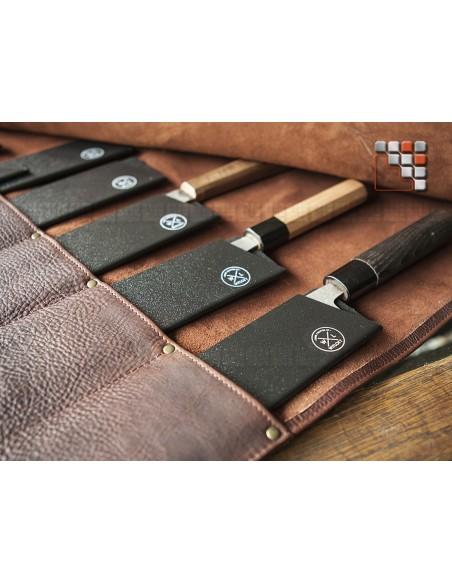 Sacoche Cuir Knife Rolls 9 WITLOFT ouverte
