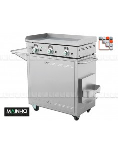 Pack Plancha NC-80 on Carriage Rollent all stainless steel MAINHO