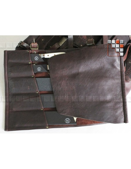 Sacoche cuir 5 rangements avec etuis