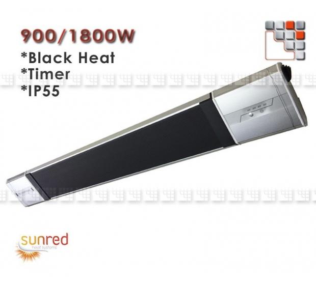 Chauffage Black Heat 1800W Infrarouge Sunred