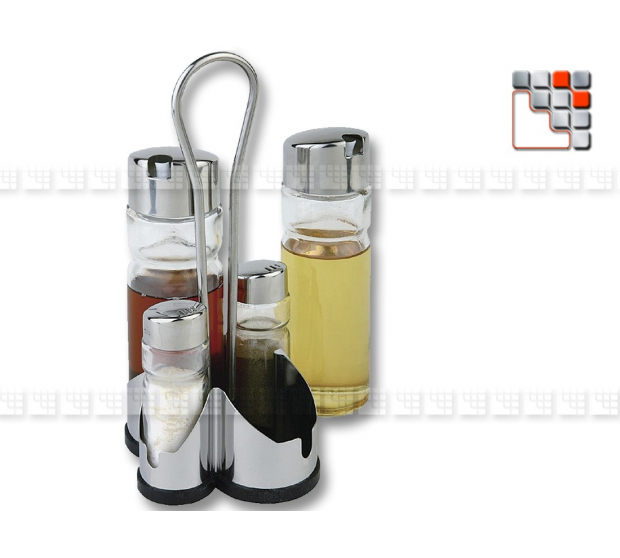 Set Oil and Vinegar Salt and Pepper Bamboo DM CREATION A17-124 A la Plancha® Table decoration