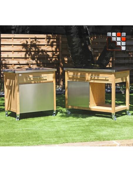 Chariot Plancha Bambou 00231 D19-00231 DM CREATION® Dessertes & Chariots Bois Inox