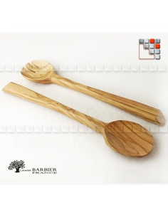 Set Olive Wood Salad Servers Laurent Barbier B18-301193 LAURENT BARBIER France Table decoration