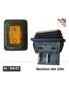 Rocker switch 20A - 230V amber MAINHO