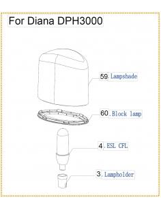 Dome d'Eclairage de Chauffage Diana Warmwatcher W09-DHP300059X Warmwatcher® Pièces détachées Autres