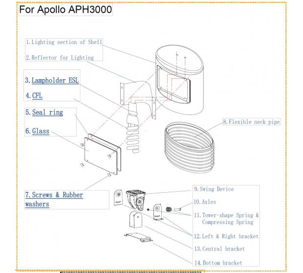 Kit Lampe pour Chauffage Apollo Warmwatcher W09-APH300060X Warmwatcher® Pièces détachées Autres