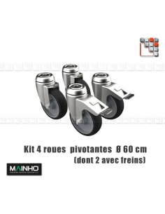 4 Wheels Kit Heavy Load Self-locking MAINHO M36-RM/RMF MAINHO SAV - Accessoires MAINHO Spares Parts Gas
