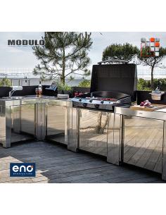Cuisine d'extérieur Modulo Inox pour plancha - ENO E07-MOD0285 ENO®  Planchas ENO et Chariots Bois Inox
