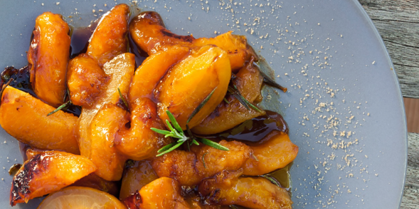 Apricots roasted with rosemary and maple syrup