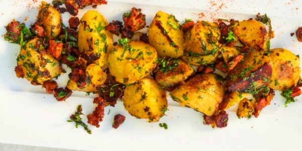 Pan-fried fingerling potatoes with chorizo